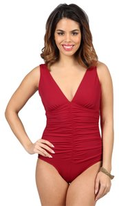 Jantzen Size: 10 Ruched One-Piece Deep V-Neckline Swimsuit