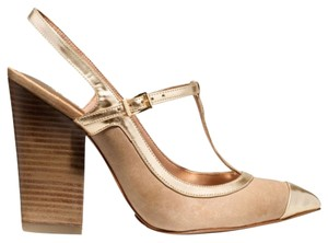Coach 7 Frankie Gold & Tan Pumps