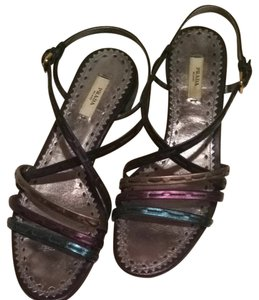 Prada Resort Strappy Metallic Semi Formal. Teal, Navy, Plum, Bronze, multi Sandals