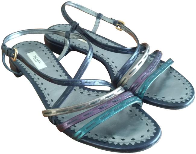 Item - Navy Plum Teal Bronze Lusterous Triple Strap Sandals Size US 8 Regular (M, B)