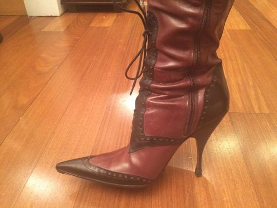 Cesare Paciotti Tall Tall Zipper Lace Up Leather black brown Boots