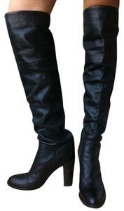 L'Autre Chose Italian Designer Designer Italian Above The Knee Chic Thigh High Leather Black leather-reduced Boots