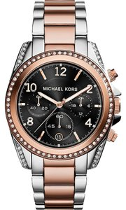 Michael Kors Michael Kors Blair Chronograph Black Dial Two-tone Ladies Watch 39mm MK6093