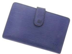Louis Vuitton LOUIS VUITTON Blue Epi (With coin purse) bi-fold wallet Portefeiulle