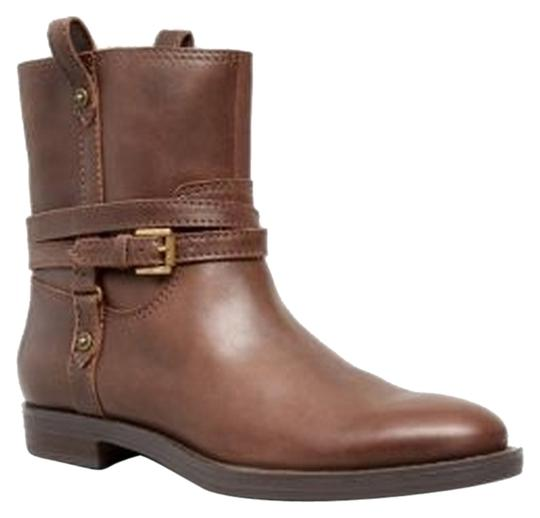 Enzo New Brown Leather Buckle Detail Dark Brown Boots