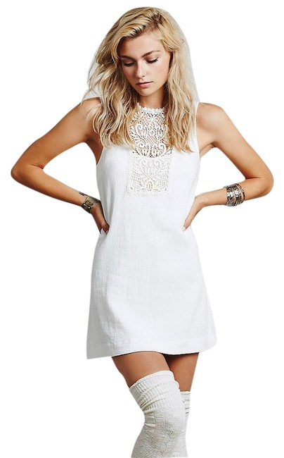 Free People short dress Ivory Maribelle Mini Designer Lace on Tradesy