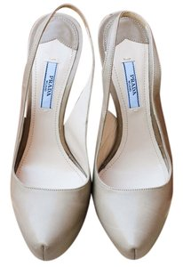 Prada Slingback Platform Beige Leather Party Stiletto High Heel Designer Chic Classic Summer Spring Italian Gold Nude Pumps