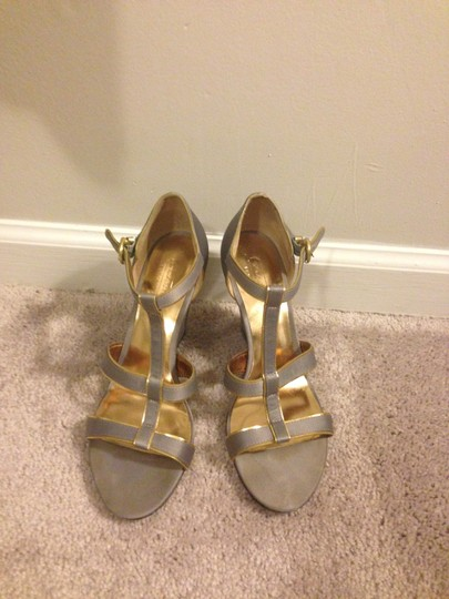 Coach Stylish Metallic Gray, gold Formal