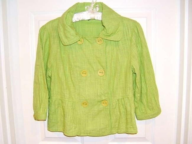 Dimri Green Look Cotton All Cotton Crisp Office Work Classic Traditional Fun Rounded Collar Buttons Double Breasted Blazer Lime Green Jacket