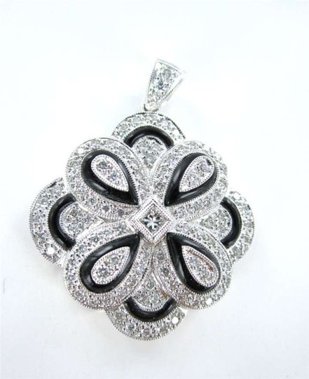 Vintage 18KT WHITE GOLD 96 DIAMOND PENDANT FLOWER OF LIFE OPENS 7.2DWT FINE JEWELRY ASF