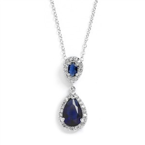 Mariell Sapphire Op-selling Cubic Zirconia Teardrop Pendant 4036n-sa Necklace