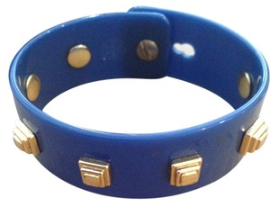 Tory Burch Tory Burch Blue Resin and Gold Stud Bracelet Bangle