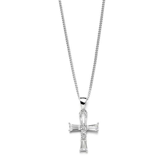 Mariell Silver Cross Pendant with Cubic Zirconia Baguettes 3986n Necklace