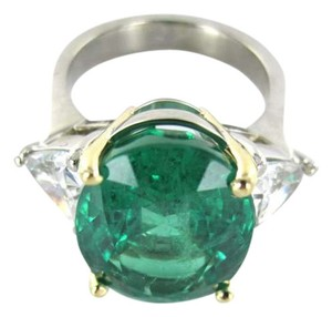 Vintage UNIQUE 18K WHITE GOLD LARGE BLUE GREEN EMERALD & TWO TRIANGLE SIDE DIAMOND RING