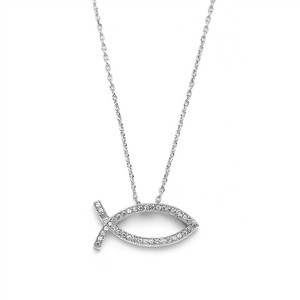 Mariell Christian Fish Faith Necklace In Cubic Zirconia & Rhodium 3988n