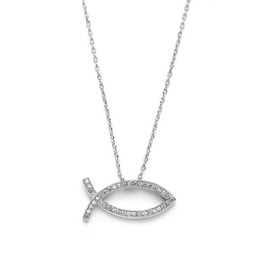 Preload https://img-static.tradesy.com/item/3492379/mariell-silver-christian-fish-faith-cubic-zirconia-rhodium-3988n-necklace-0-0-540-540.jpg