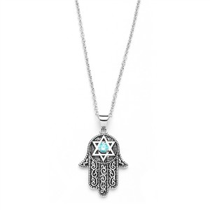 Mariell Silver Hand Of God Pendant with Aquamarine Cz and Star Of David 3990n Necklace