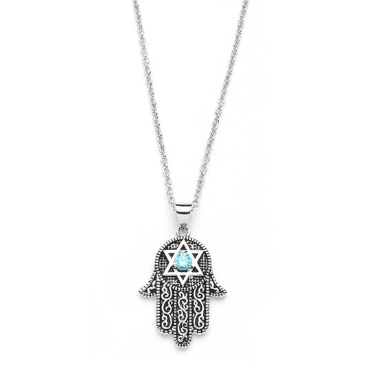 Preload https://img-static.tradesy.com/item/3492412/mariell-silver-hand-of-god-pendant-with-aquamarine-cz-and-star-of-david-3990n-necklace-0-0-540-540.jpg