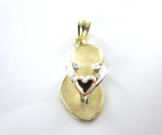 Vintage 14KT YELLOW WHITE ROSE GOLD PENDANT CHARM MA SANDAL HEART FLIP FLOP FINE JEWELRY