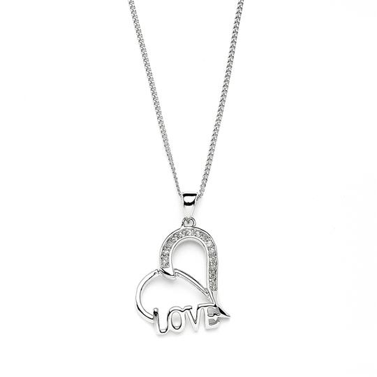 """Mariell Silver Or Bridesmaids Gift Heart Shaped """"Love"""" Necklace"""
