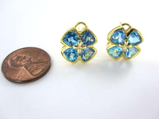 Vintage 14KT YELLOW GOLD EARRINGS BLUE TOPAZ FLOWER 4.0DWT PRECIOUS BIRTHSTONE STONE