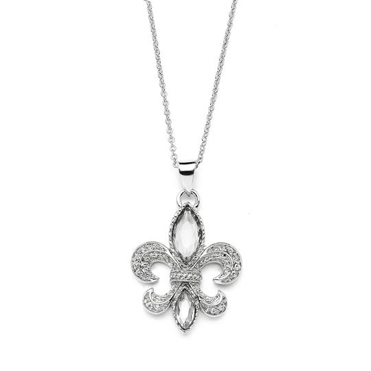 Mariell Silver Fleur De Lis with Cubic Zirconia Faux Crystal 3995n Necklace