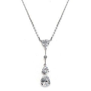 Mariell Cubic Zirconia Multi Shaped Dangle Necklace 679n