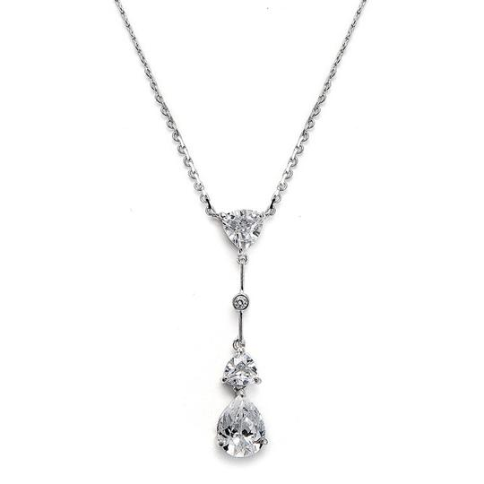 Mariell Silver Cubic Zirconia Multi Shaped Dangle 679n Necklace