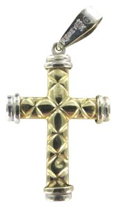Vintage 10KT YELLOW & WHITE GOLD PENDANT CHARM CROSS CHRISTIAN TURKEY 1.8DWT DESIGNER