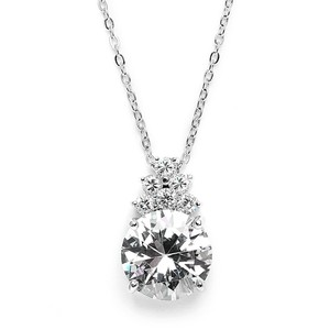 Mariell Bold Cz Bridal Or Bridesmaid Necklace Pendant 3691n