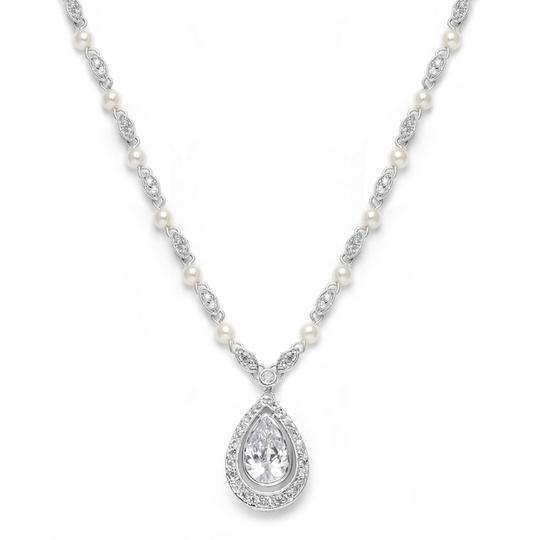 Mariell Silver Victorian with Pearls Cubic Zirconia Teardrop 3828n Necklace