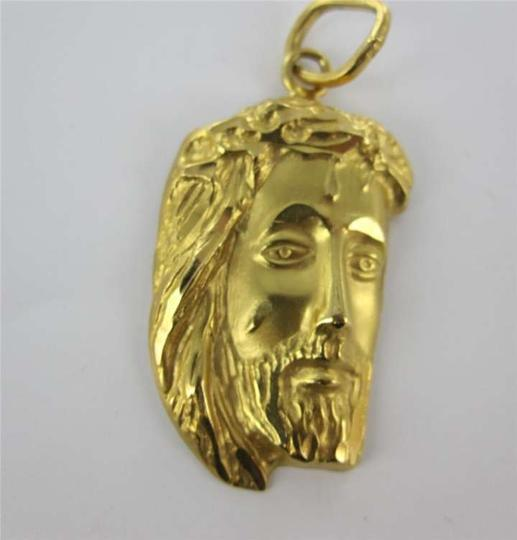 Vintage 18KT YELLOW GOLD PENDANT JESUS FACE CHRISTIAN CHRIST HOLLY FACE RELIGION CHARM