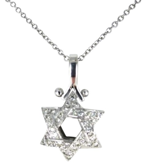 Vintage 14KT WHITE GOLD NECKLACE 18INCH 1.6DWT STAR OF DAVID PENDANT 2.8DWT 36 DIAMONDS