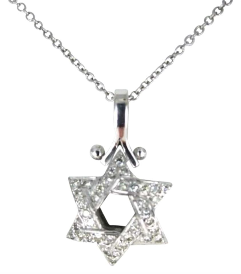 14KT WHITE GOLD NECKLACE 18INCH 1.6DWT STAR OF DAVID