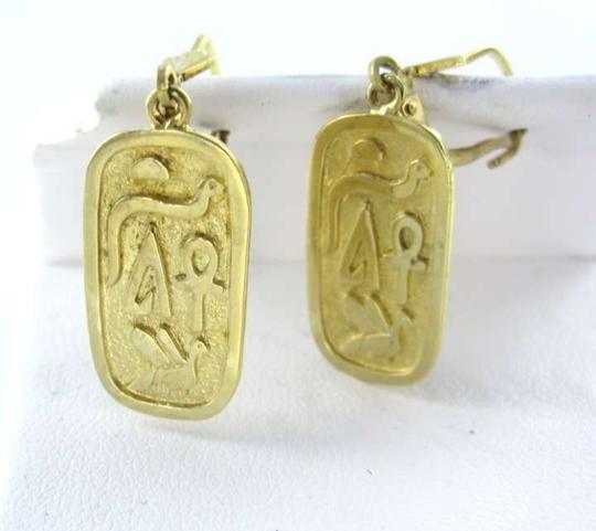 Vintage 14KT YELLOW GOLD EARRINGS DANGLE EGYPTIAN HIEROGLYPH TUTANKHAMUN TUT VINTAGE
