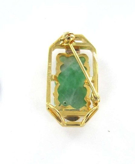 Vintage 18K YELLOW GOLD PIN BROOCH JADE BUDDHA 2 DIAMOND VINTAGE HAND CARVED CHINESE