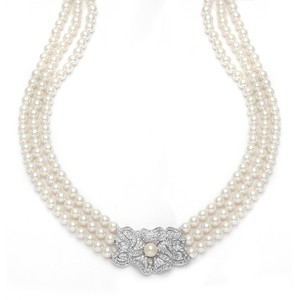 Mariell 3-row Pearl & Cubic Zirconia Vintage Wedding Necklace 3826n