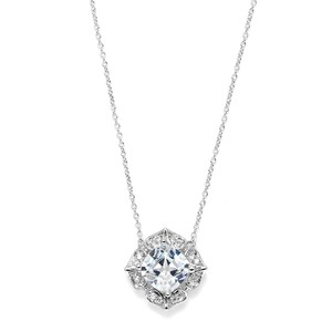 Mariell Silver Lavish Cushion Cut Cubic Zirconia Pendant 3510n Necklace