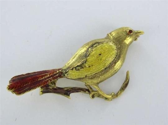 Vintage BIRD PIN BROOCH 18K YELLOW GOLD VINTAGE ENAMEL ANIMAL RED TAIL COLLECTOR ANTIQUE