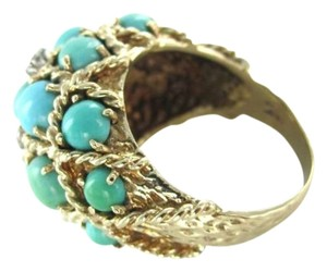 Vintage 14K YELLOW GOLD RING TURQUOISE DOME COCKTAIL RING DIAMOND 10.3DWT SZ8.5 VINTAGE