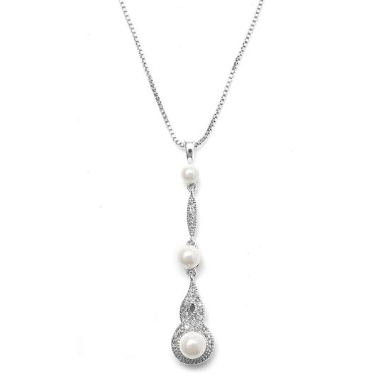 Mariell Silver Braided Cz Pave Dangle with Pearl 3050n Necklace
