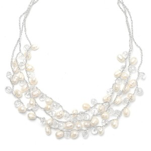 Mariell Genuine Freshwater Pearls 3-row Bridal Necklace 3132n