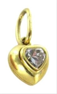 Vintage 18KT YELLOW GOLD PENDANT HEART WHITE STONE CHARM 0.8DWT LOVE JEWELRY GIFT LUXURY