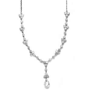 Mariell Cz Bridal Necklace With Faceted Crystal Drop 340n