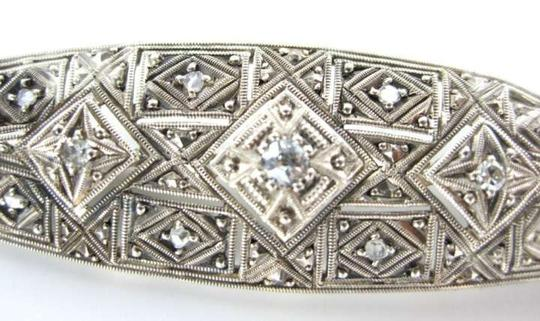 Vintage STERLING SILVER 11 DIAMOND .50 CARAT VINTAGE PIN BROOCH ANTIQUE 3.4DWT JEWELRY