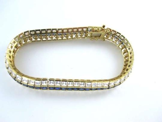 Vintage Mouse over image to zoom 14KT YELLOW GOLD BRACELET 17.6DWT LUXURY FINE JEWELRY WHITE STONE SAPPHIRE COLOR