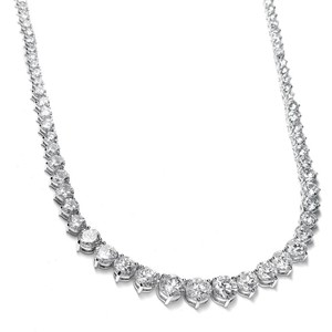 Mariell Silver Graduated Cubic Zirconia Tennis 531n Necklace