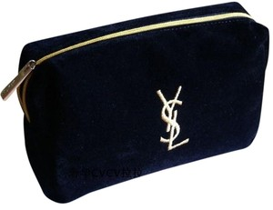 Saint Laurent NEW! YSL Cosmetic Bag Black Faux-Suede Gold Embroidered Logo
