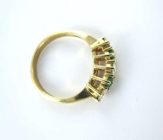Vintage 14KT YELLOW GOLD EMERALD RING 3 DIAMOND DIAMONDS SZ 4.5 JEWELRY 1.4DWT VINTAGE