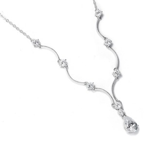 Mariell Classic Cubic Zirconia Teardrop Bridal Necklace 660n